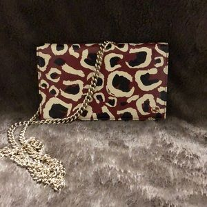 Gucci Leopard Print Red Leather Crossbody